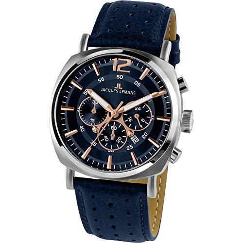 Jacques Lemans Men's Blue Case Quartz Chronograph Watch 1-1645.1I