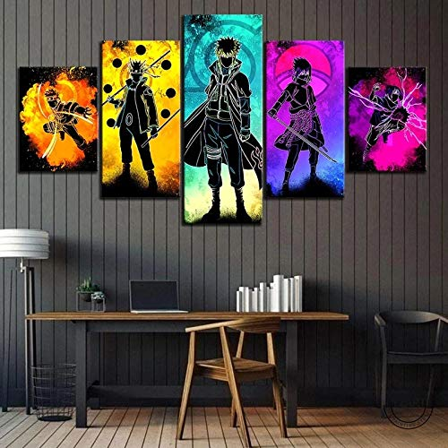183Tdfc 5 Teilig Leinwand Wanddeko Naruto Anime Poster Hd Bilder Leinwanddrucke 5 Stück Leinwand Bilder Gemälde Modern Wohnzimmer Wohnkultur Geschenk 150X80Cm Rahmen