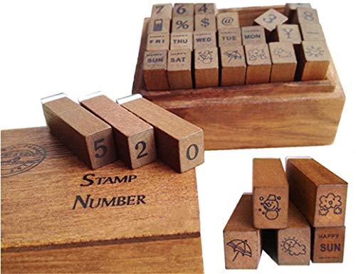 miteux stempelset voor scrapbooking album 28 stuks foto DIY houten doos rubber stempel cijfers weeken Kerstmis Valentijnsdag Thanksgiving geschenken
