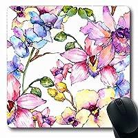 マウスパッドワイルドフローラルワイルドフラワーオーキッドフラワーパターン水彩画自然自然グリーンバイオブロッサム植物長方形形状滑り止めゲームマウスパッドラバー長方形マット