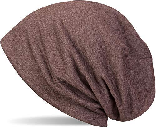 styleBREAKER Klassische Slouch Beanie Mütze, leicht, Unisex 04024018, Farbe:Dunkelbraun meliert