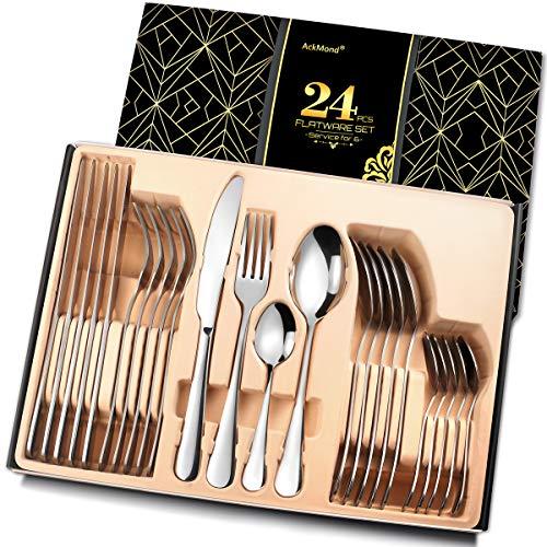 Set di posate in acciaio INOX per 8 persone, modello AckMond, Acciaio inossidabile, Elegant,32-pcs,Service for 8