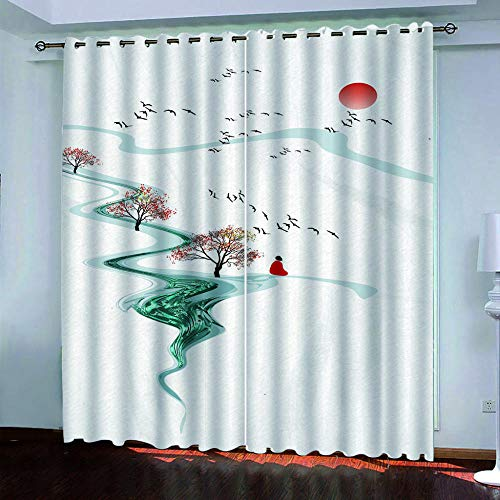 MENGBB Blackout Curtain for Kids Girls Microfiber 94x90 inch Sunrise ink landscape Thermal Insulated 95% Blackout Kitchen Bedroom Living Room Window Eyelet Curtains