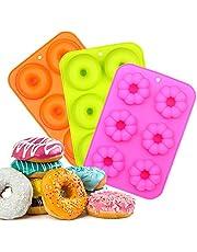 EKKONG Moldes de Silicona Donut,Resistente al Calor a 260 °C,Adecuado para Pasteles,Galletas,Bagels, Muffins-Naranja,Rosa Roja,Verde,6 cavidades,Paquete de 3