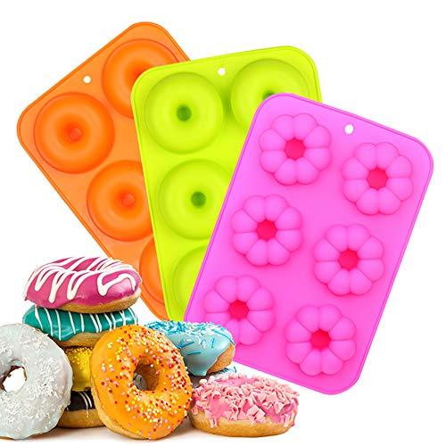 EKKONG Silicone Donut Stampo,Rotonda e Fiori Donut Stampi per Cioccolato, Torte, Dolci, Muffin - Antiaderente & Termoresistente,3 Pack