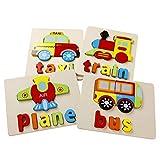 Babyhelen Jouet Bébé -3D Puzzles en Bois avec Cadre , Jouet Enfant 3-6 Ans Véhicule Avion Train Taxi Bus Jeuets Educatifs Apprentissage, Puzzle à Encastrements