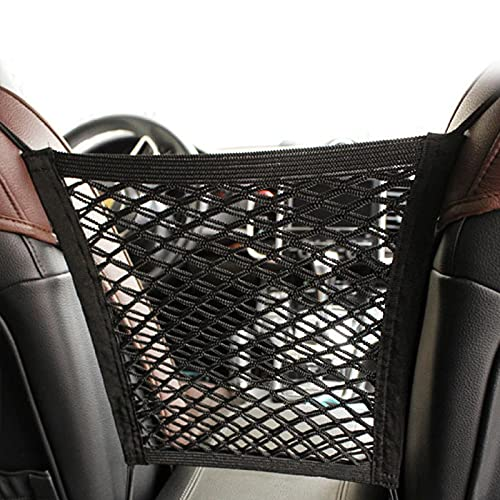 XIAGOU 3-Layer Car Mesh Organizer, Barrier of Backseat Pet Kids, Driver Storage Netting Pouch,Cargo Tissue Purse Holder