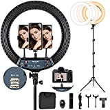 18 inch LED Ring Light with 70.8' Tall Tripod Stand and 3 Phone Holder JACKYLED 18' Ring Light with Wireless Remote 55W Dimmable 3000K-6000K Ringlight for Zoom YouTube Live Stream Video Shooting