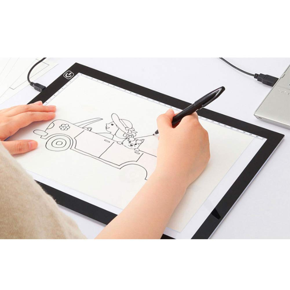 Mesa de Luz Dibujo A4, Caja de luz para calcar, A4 Tablero De Dibujo De Caja De Luz De Dibujo Tablero De Rastreo, Light, Ultra-thin Brillo Regulable,Light Pad para Artistas, Dibujo, Animación: