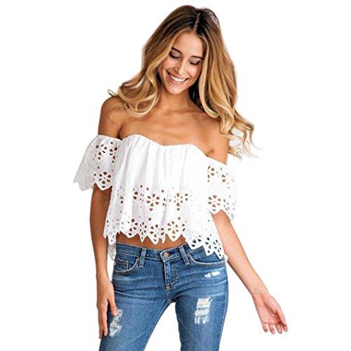 Toamen Gilet de T-shirt femmes Épaule nu Burnout Creux Haut Manche courte chemise Sexy Été T-shirt Tops (S, Blanc)