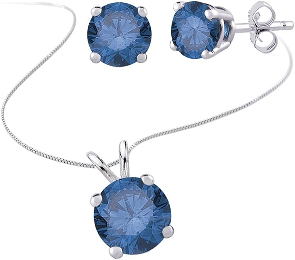 KATARINA Blue Diamond Solitaire Stud Earrings and Necklace Jewelry Set in 14k White Gold (1/2 cttw)