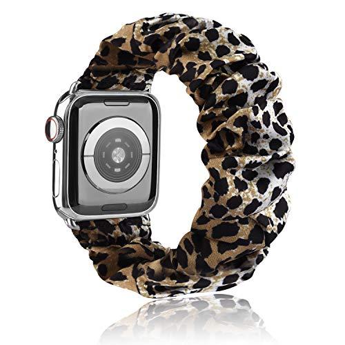 Scrunchie Cinturino Compatibile per Apple Watch 38mm 40mm 42mm 44mm, Seta Morbido Stampato Bracciale in Tessuto, Donna Cinturini Elastico per Iwatch SE Series 6 5 4 3 2 1(Leopard 38mm/40mm S/M)