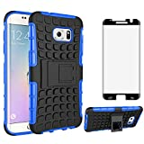 Phone Case for Samsung Galaxy S7 Edge with Tempered Glass Screen Protector Cover and Stand Kickstand Hard Rugged Cell Accessories Glaxay S7edge Gaxaly S 7 Plus GS7 Galaxies 7s 7edge Cases Black Blue
