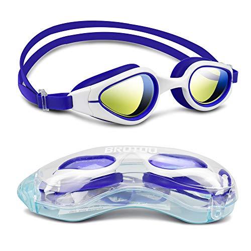 Debonice Gafas de natación antivaho Gafas de natación con revestimiento de espejo de protección UV, correa ajustable para adultos jóvenes unisex (azul + blanco)