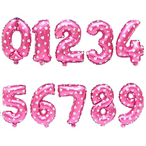 TOSISZ Big Size Gold Sliver Rose Gold Number Balloon Birthday Wedding Party Decorations Foil Balloons Kid Boy Toy Baby Shower-Pink Wave Point,7,40Inch