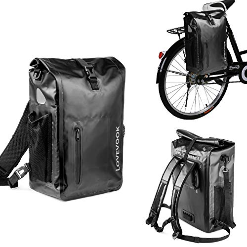 LOVEVOOK Fahrradtasche Gepäckträger 100% Wasserdicht 26L, Reflektierend 3 in 1 Fahrradrucksack Gepäckträgertasche Umhängetasche, Radsport Rucksack mit Abnehmbare Laptoptasche Damen Herren Schwarz