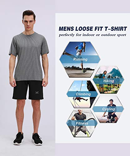 Inkpoo Men's Dry Fit Mesh Athletic Shirts Sport Running Mesh Breathable Quick Dry Workout Short Sleeve
