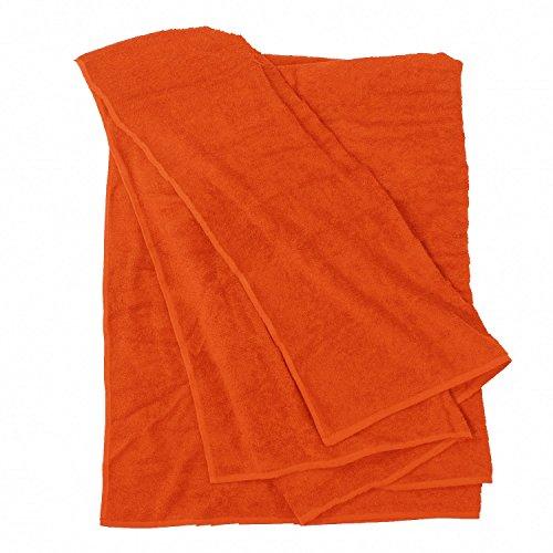 BigBasics Orange farbenes Handtuch - Extra Groß 100 x 220 cm und 155x220 cm - 1a Qualität, Größe:100x220