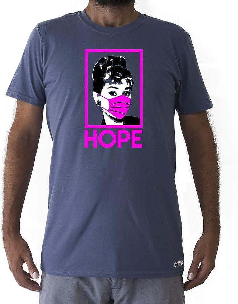 GAMBA TARONJA Audrey Hope - Camiseta COVID19 - Camiseta Audrey Hepburn - Camiseta CORONAVIRUS - Camiseta MASCARILLA