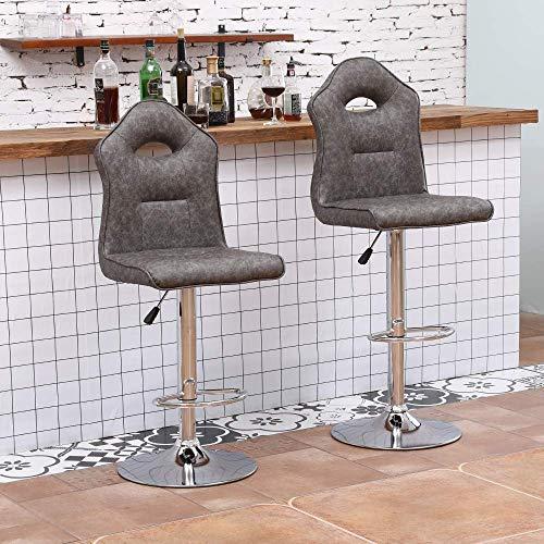 N/Z Tägliche Ausrüstung Set mit 4 Barhockern 360 ° drehbare höhenverstellbare Barstühle PU-Leder-Barhocker Stühle mit Rückenlehne und Fußstütze Frühstücksbar Küchenbarhocker Stühle Pub-Stühle