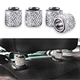 JUSTTOP Car Seat Headrest Decoration, 4 Pack Car Headrest Collars, Rhinestone Interior Car Seat Accessories, Bling Bling Crystal Diamond Car Interior Decoration Ring (White)