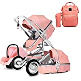 GSJZ Prams and Pushchairs from Birth,Travel System 3 in 1 Stroller Buggy with Diaper Bag Backpack, High Landscape Anti-Shock Baby Child Pushchair Reverse or Forward Facing (Pink)