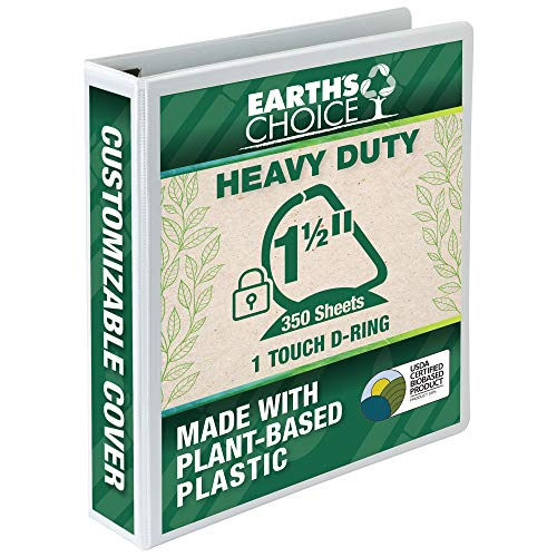 Samsill Earth's Choice Biobased Heavy-Duty 3 Ring View Binder, 1.5 Inch Locking One Touch D-Ring, USDA Certified Biobased, Eco-Friendly, Customizable Clear View Cover, White (19857)