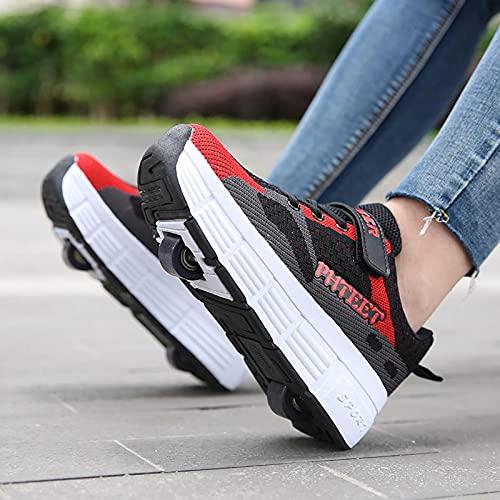 Zapatos con Ruedas Zapato De Skate Técnico Retráctil Calzado Deportivo Al Aire Libre Zapatillas Elípticas Running Zapatillas De Gimnasia Deportivas Multifuncionales 2 En 1 B,32EU