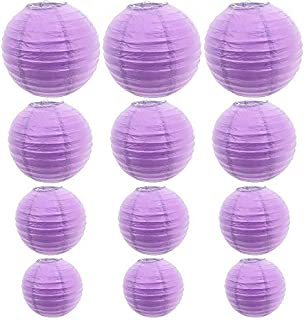 12 Packs Round Chinese Paper Lanterns Assorted Sizes 6Inch 8Inch 10Inch 12Inch Birthday/Wedding/Party Ceiling Hanging Decoration (Purple)