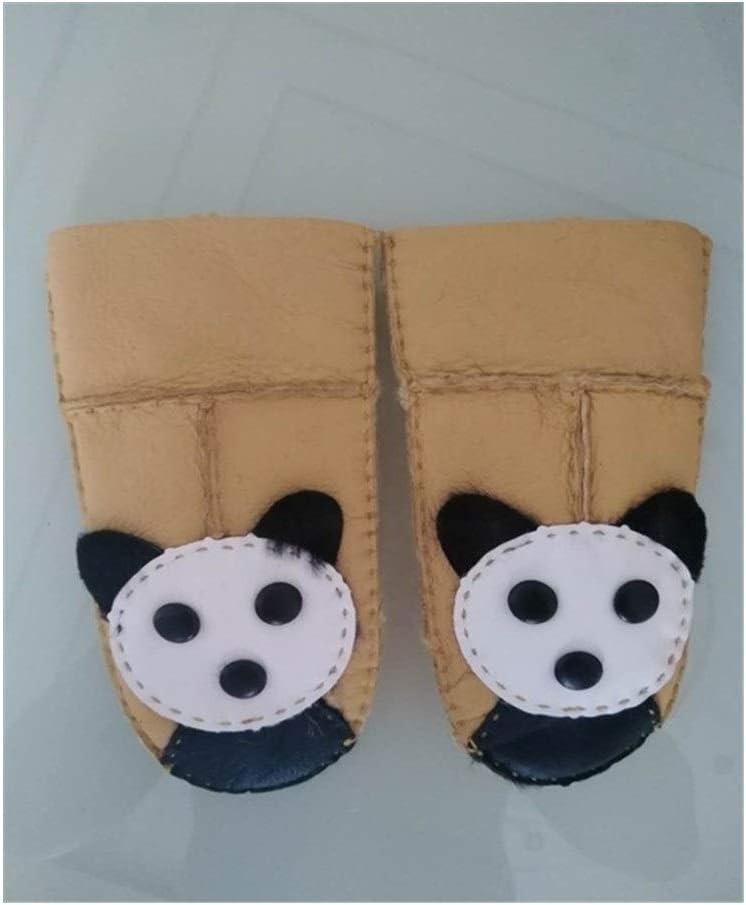 Lupovin-Keep Warm Kids Sheepskin Gloves Fur Thincken Mittens Children Cute Literal Leather Gloves Wool Seamed 2018 Winter Warm Gloves Non-Slip (Color : Gold, Gloves Size : One Size)