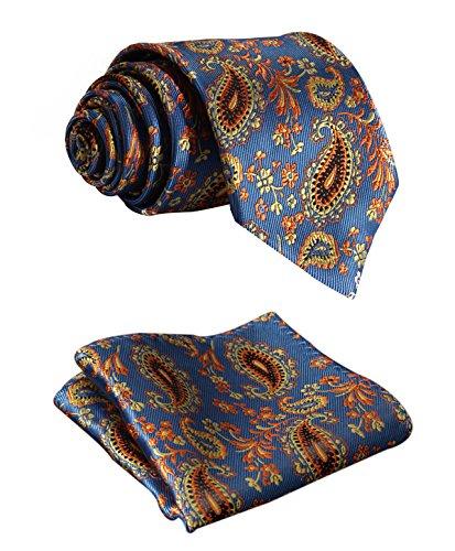 HISDERN Set di fazzoletti da taschino e fazzoletto da taschino con cravatta floreale extra lunga floreale, XL, lunghezza 63 pollici, blu/arancione