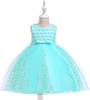 SEASHORE Costume Girl Bow Princess Dress lace Flower Girl Wedding Performance Piano Costume 4-12 Years Old (Color : Green, Size : 6-7T)