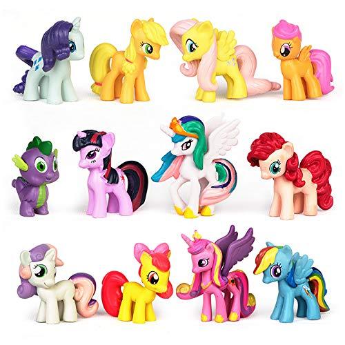 Yisscen Cake Topper Unicornio, Mini Juego Figuras, Niños Unicornio Mini Juguetes Juguete PVC para Baby Shower Fiesta de cumpleaños Pastel Decoración Suministros 12 Piezas