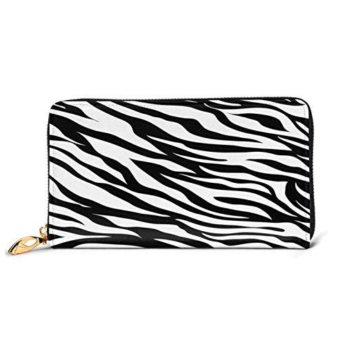 VBTDEGAB Zebra Skin Pattern Leder Brieftasche Reißverschluss Brieftasche Kreditkarteninhaber für Frauen Slim Lange Leder Brieftaschen