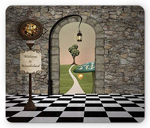 Ambesonne Alice in Wonderland Mouse Pad, Welcome Wonderland Black and White Floor Landscape Mushroom Lantern, Rectangle Non-Slip Rubber Mousepad, Standard Size, Black Green