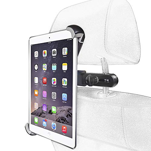 Car Headrest Tablet Mount for iPad, EXSHOW Universal Tablet Holder Stand Cradle Compatible with 9.7~14.5 inch Tablets Such as iPad Pro 12.9 12.5 10.5 9.7 iPad 2019 2018 2017 Air and Other Tablet
