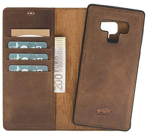 Solo Pelle Lederhülle Harvard kompatibel für das Samsung Galaxy Note 9 inklusive abnehmbare Hülle mit integrierten Kartenfächern (Vintage Braun)