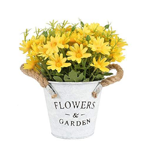 HUAESIN Flores Artificiales Macetas con Margaritas Artificiales Pequeñas Planta Artificial Macetero Flor Amarilla…
