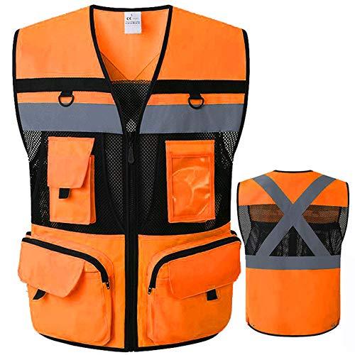 9 Pockets ANSI Class 2 High Vis Reflective Safety Vest Mesh Fabric with Zippers Large Pockets Summer Breathable vest (Medium, Orange black)