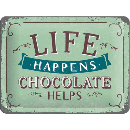 Nostalgic-Art 26191, 15x20 cm Blechschild-Word Up-Life Happens-Chocolate Helps, Vintage Geschenk-Idee für Retro-Fans, zur Dekoration, 15 x 20 cm, Metall, bunt, 15 x 20 x 0,2 cm