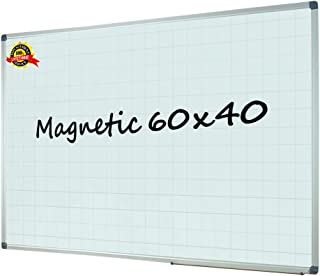 Lockways Magnetic Dry Erase Planning Board, Large Grid Whiteboard Planner 60 x 40 Inch Silver Aluminium Frame