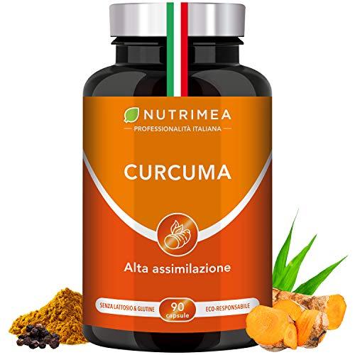 CURCUMA NUTRIMEA | Curcuma Piperina Plus Olio Extra Vergine Oliva Biologico | 95% Estratto Curcumina Piperina | 350 mg Curcumina Pura 7 mg | Pepe Nero