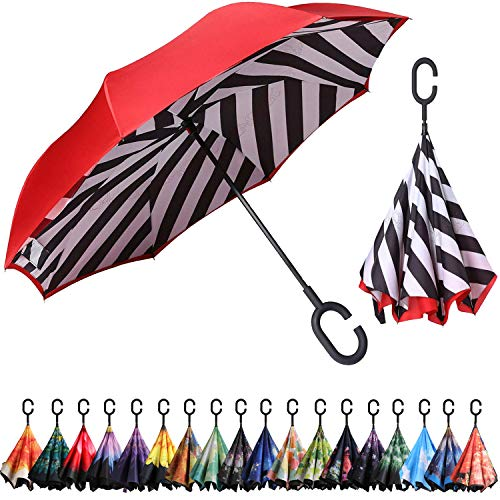 BAGAIL Double Layer Inverted Umbrella Reverse Folding Umbrellas Windproof UV Protection Big Straight Umbrella for Car Rain Outdoor with C-Shaped Handle (Stripe)