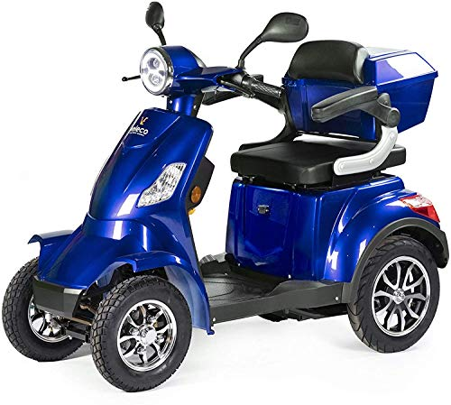 VELECO 4 Wheeled Electric Mobility Scooter 1000W Faster Blue