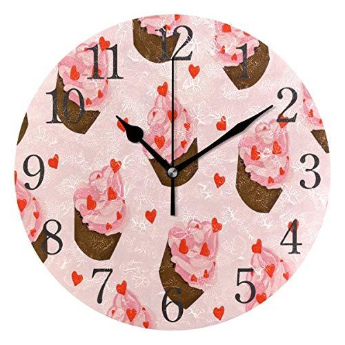 BTJKDFD Reloj de pared para magdalenas con corazones de color rosa y crema AMD silencioso, funciona sin garrapatas, redondo, fácil de leer en casa, oficina, escuela, reloj