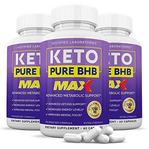 (3 Pack) Keto Pure BHB Max 1200mg Pills Ketogenic Supplement Includes goBHB Exogenous Ketones Apple Cider Vinegar Macadamia Nut Oil and Green Tea Advanced Ketosis Support Men Women 3 Bottles