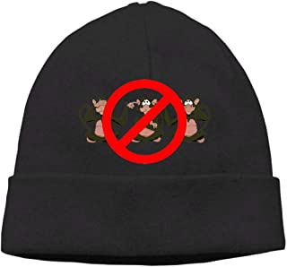 Ghhpws Cute Monkey Hear See No Evil Beanie Wool Hats Knit Skull Caps Warm Winter Beanies for Men Women Black