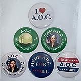 PresidentialElection.com AOC/Alexandria Ocasio-Cortez Buttons - Set of 6-2.25 inches