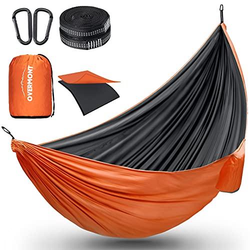 Overmont Doppelschichtige Hängematte TÜV-Zertifiziert Camping Hängematten, 300kg Tragfähigkeit für 2 Personen, 280 x 185 cm aus Nylon für Outdoor Reisen Garten