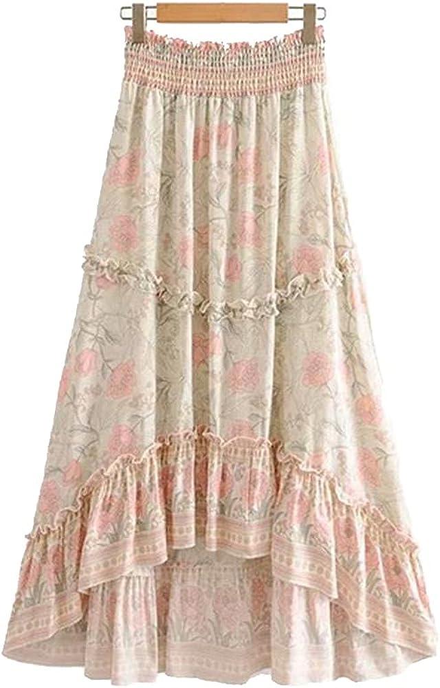 Summer Women Floral Peacock Print Beach Skirt High Elastic Waist Maxi A-Line Femme